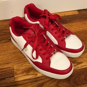 US Polo Assn red and white sneakers. Men's size 9.